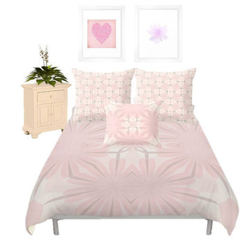 Duvet Cover - 3 different sizes to Choose From, Without Inserts, Bedroom, Home decor, Pink, Romantic, Girl, Shams
