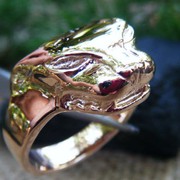 Tiger/Panther/Dragon hand cast solid gold ring, Unisex ring, gents ring or unusual statement ring, solid gold