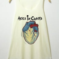 Alice in chains , tank top , women tank top, off white shirt, screenprint, tunic, clothing tshirt, lady shirt, rock tee, S/M , L/XL size