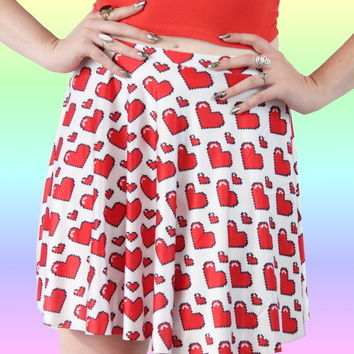 PIXEL HEART SKATER SKIRT
