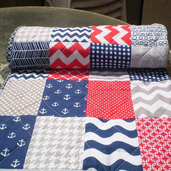 Nautical baby quilt,baby boy bedding,baby girl quilt,grey,navy blue,red,naval,patriotic,toddler quilt,anchors,waves,chevrons,Nautical Plus