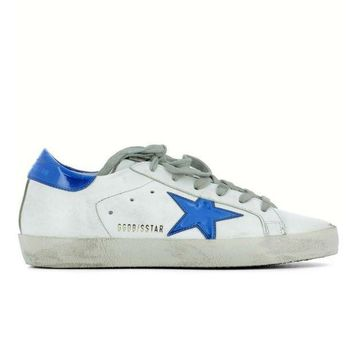 ICIKW GOLDEN GOOSE DELUXE BRAND SUPERSTAR SNEAKERS WHITE LEATHER BLUE