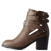 Taupe Double Buckle Cut-Out Bootie by Charlotte Russe