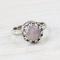 Rose quartz ring, sterling silver, vintage style, floral diamond band, Renaissance ring, handmade, crown setting,  pink princess ring,