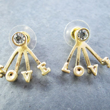 Gold Love Front Back Earrings