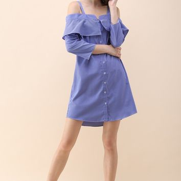 Crazy for Stripes Cold-Shoulder Shift Dress in Blue