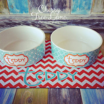 Personalized Pet Food and Water Bowls - Dog Bowl - Monogram Your Pet - Design Your Own - Custom Made