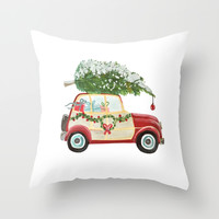 Vintage Christmas car with tree red Throw Pillow by Jennifer Rizzo Design Company
