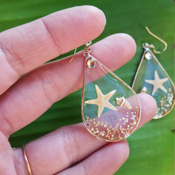 See Through, Starfish, Shell, Sand Tear Drop Earrings, 14K Gold filled, resin earrings