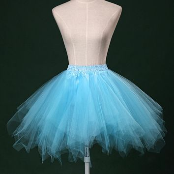 Vintage Cute Solid Color Irregular Mini Tutu Skirt Petticoat Women Girls Tulle Ball Gown Bust Skirt 9 Color Available