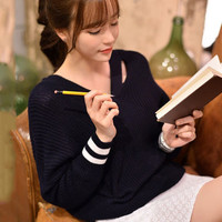 Dark Blue V-neck Cut-Out Knitted Sweater
