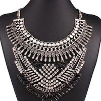 Silver Crystal And Stone Embellished Chain Statement Necklace