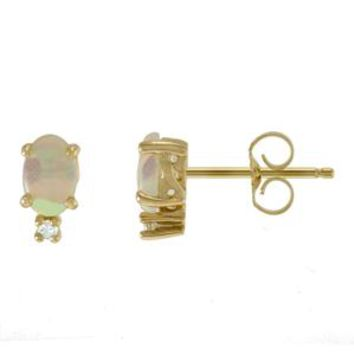 14k Yellow Gold Opal Diamond Stud Earrings (6.00mm x 4.00mm)