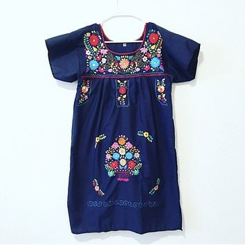Navy Mexican Dress Traditional Embroidered