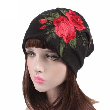 Floral Embroidery Beanie Caps Women Cancer Chemo Hat Scarf Turban Head Wrap Cap 7 Colors Fitted Winter Autumn gorros