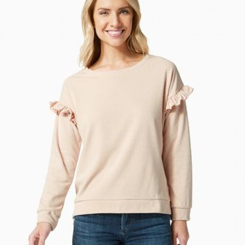 Ruffle Shoulder Sweatshirt | Charming Charlie