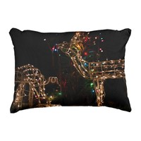 Wild Lighted Deer Photography Christmas Throw Accent Pillow