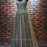 ALine Sweetheart Sequins Mesh  Prom Dress by AngelBridal on Etsy