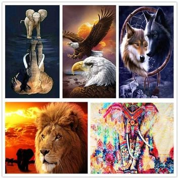 Eagle Diy Diamond Embroidery Cartoon Movies Sewing Kit Diamond Mosaic Lion King Elephant Diamond Painting Sewing Accessories