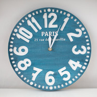 Vintage clock -Paris antique blue- pseudo vintage birch clock hand painted antique blue color blackboard style