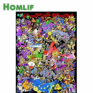 HOMLIF diamond mosaic diamond embroidery  All Monsters Anime 5d diamond painting full 3d picture of rhinestones cross ArtKawaii Pokemon go  AT_89_9