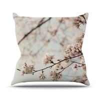"Catherine McDonald ""Japanese Cherry Blossom"" Outdoor Throw Pillow"