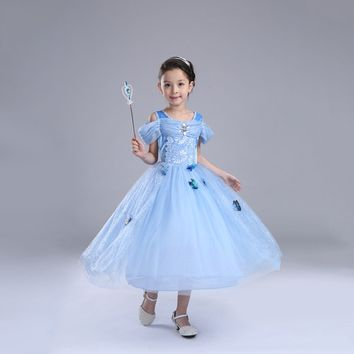 Princess Costume - Blue Short Sleeve Bubble Gown Skirt Cinderella Dress - 👗💘👑🎃👠