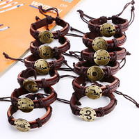 NEW Fashion 12 Zodiac Signs Leather Bracelet Constellations charm Bracelets Adjustable Bracelet Jewelry!