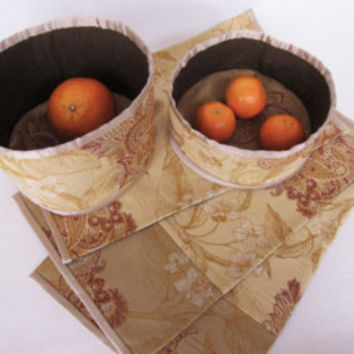 Baskets and placemats decorated Russian rustic style Quilted placemats and fabric baskets kitchen garden decoration Easter Gift Idea