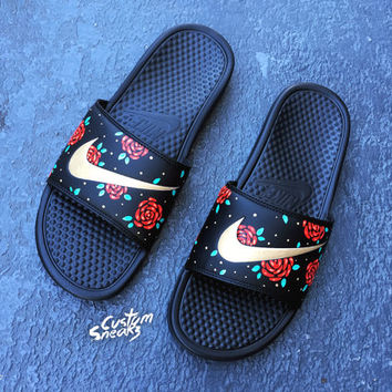 2e70751ed571 ... promo code for womens nike slider sandals custom nike benassi sliders  floral roses swoosh slide 54340