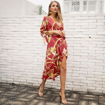 Spring Summer Fashion Print Dress Women V Neck Thigh High Split Hem Tied Waist 3/4 Sleeve with Bow Party Dress Casual