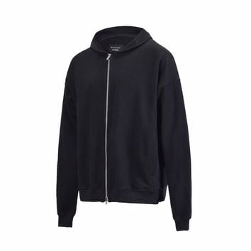 2018ss new Hip Hop kanye west OVERSIZE Zipper Side split fork Long Sleeve Hoodies Sweatshirts Justin Bieber Fear Of God Hoodies