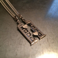 Phone Booth Double Heart Friendship Sterling Silver Necklace