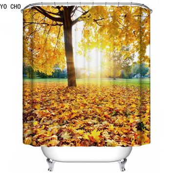 3D forest shower curtain beautiful bathroom curtains tree bath curtains Polyester tropical shower curtain With 12pcs Hooks