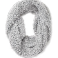 FOREVER 21 Fuzzy Knit Infinity Scarf Light Grey One
