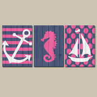 Girl Nautical Canvas or Prints Wall Art Wood Effect Nursery Baby Girl Nursery Wall Art Girl Wall Art Girl Bedroom Decor Wall Art Set of 3