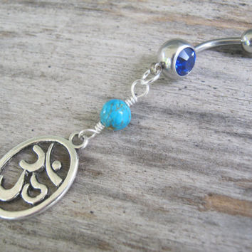 Turquoise Om Belly Ring, Belly Button Jewelry, Personalized Birthstone Piercing, Buddhist Yoga Body Jewelry, Ohm Aum Navel Ring, Silver