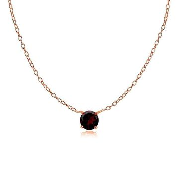 Dainty Round Garnet Choker Necklace in Rose Gold Plated 925 Silver