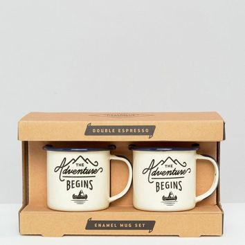 Gentlemen's Hardware Double Espresso Enamel Mug Set at asos.com