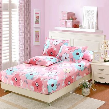 3Pcs sets 100%cotton fitted sheet pink flower bed sheet twin full queen king size California King bedding fitted cover Bed cover