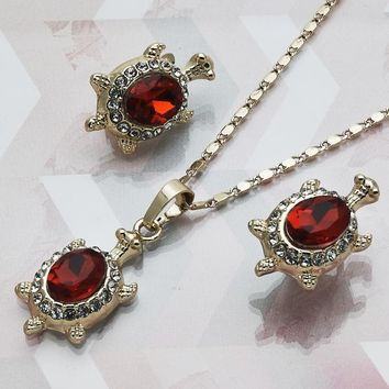 Gold Layered Women Turtle Necklace and Earring, with Garnet Crystal, by Folks Jewelry
