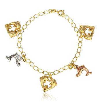 Gold Overlay Dolphin Heart Charms 7Inch Cable Bracelet