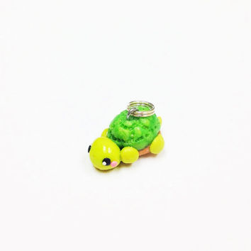Turtle Polymer Clay Charm, kawaii turtle charm, turtle pendant, polymer clay turtle, miniature animal, little girl gift, party favor