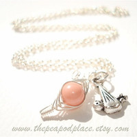 It's a Girl - Pink sweet pea in the pod & baby in a blanket necklace - Expectant mom - baby shower gift