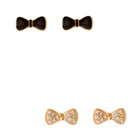 FOREVER 21 Bow Earring Set Black/Gold One