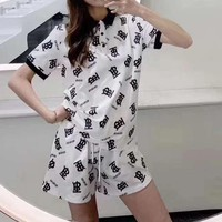 """""""TB"""" Woman's Leisure  Fashion Letter Printing  Lapel Short Sleeve Trousers Two-Piece Set Casual Wear"""