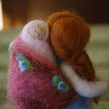 Doll, Puppe, кукла Waldorf carded needle felted Merino Wool ethnic, with child