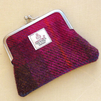 Harris Tweed Coin Purse metal Kiss lock frame in by LifeCovers