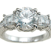 Audrey's Exquisite Sterling Silver CZ Three Stone Ring