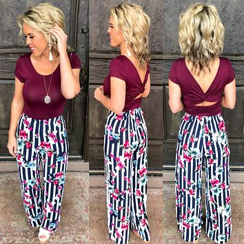 Striped with Floral Pants